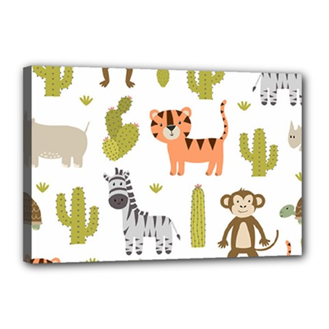 Cute Safari Animals Seamless Pattern Canvas 18  X 12  (stretched)