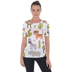 Cute Safari Animals Seamless Pattern Shoulder Cut Out Short Sleeve Top