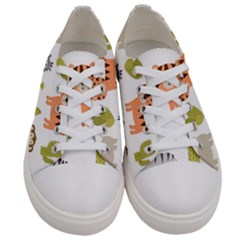 Cute Safari Animals Seamless Pattern Women s Low Top Canvas Sneakers