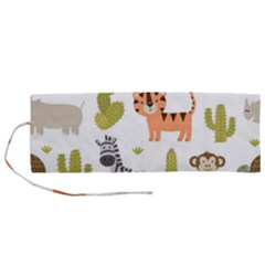 Cute Safari Animals Seamless Pattern Roll Up Canvas Pencil Holder (m) by Vaneshart