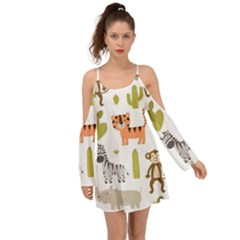Cute Safari Animals Seamless Pattern Kimono Sleeves Boho Dress