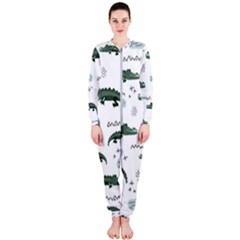 Vector Seamless Pattern With Cute Crocodiles Onepiece Jumpsuit (ladies)