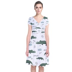 Vector Seamless Pattern With Cute Crocodiles Short Sleeve Front Wrap Dress
