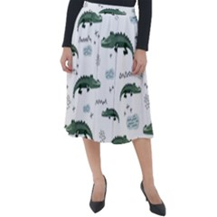 Vector Seamless Pattern With Cute Crocodiles Classic Velour Midi Skirt  by Vaneshart