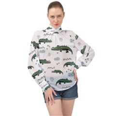 Vector Seamless Pattern With Cute Crocodiles High Neck Long Sleeve Chiffon Top by Vaneshart