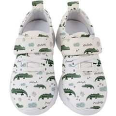Vector Seamless Pattern With Cute Crocodiles Kids  Velcro Strap Shoes by Vaneshart