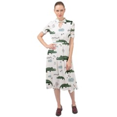 Vector Seamless Pattern With Cute Crocodiles Keyhole Neckline Chiffon Dress