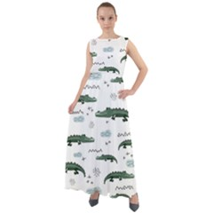 Vector Seamless Pattern With Cute Crocodiles Chiffon Mesh Boho Maxi Dress