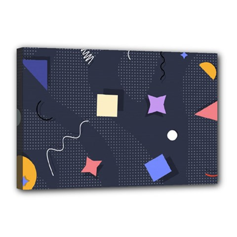 Memphis Pattern With Geometric Shapes Canvas 18  X 12  (stretched)