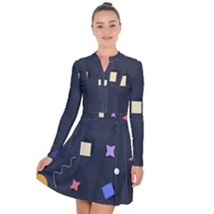 Memphis Pattern With Geometric Shapes Long Sleeve Panel Dress