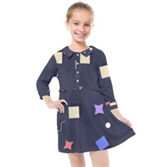 Memphis Pattern With Geometric Shapes Kids  Quarter Sleeve Shirt Dress by Vaneshart