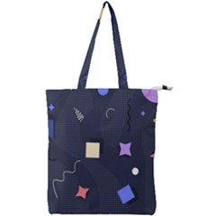 Memphis Pattern With Geometric Shapes Double Zip Up Tote Bag