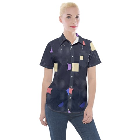 Memphis Pattern With Geometric Shapes Women s Short Sleeve Pocket Shirt by Vaneshart