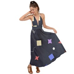 Memphis Pattern With Geometric Shapes Backless Maxi Beach Dress by Vaneshart