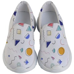 Memphis Pattern With Geometric Shapes Kids  Lightweight Slip Ons by Vaneshart