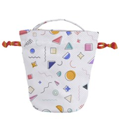 Memphis Pattern With Geometric Shapes Drawstring Bucket Bag by Vaneshart
