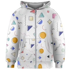 Memphis Pattern With Geometric Shapes Kids  Zipper Hoodie Without Drawstring by Vaneshart