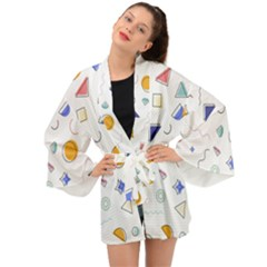 Memphis Pattern With Geometric Shapes Long Sleeve Kimono by Vaneshart