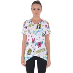 Emo Teens Doodle Seamless Cut Out Side Drop Tee