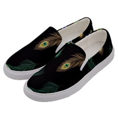 Seamless Pattern With Peacock Feather Men s Canvas Slip Ons by Vaneshart