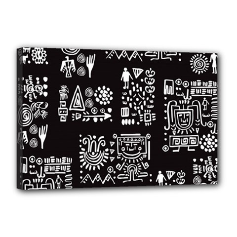 Vector Pattern Design With Tribal Elements Canvas 18  X 12  (stretched)