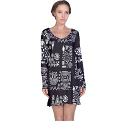 Vector Pattern Design With Tribal Elements Long Sleeve Nightdress