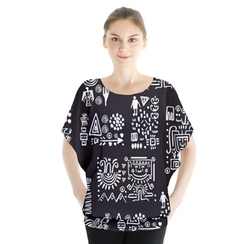 Vector Pattern Design With Tribal Elements Batwing Chiffon Blouse by Vaneshart