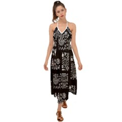 Vector Pattern Design With Tribal Elements Halter Tie Back Dress
