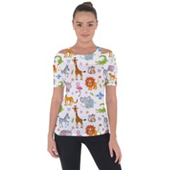 Children Seamless Wallpaper With Cute Funny Baby Savanna Animals Shoulder Cut Out Short Sleeve Top by Vaneshart