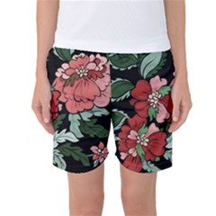 Beautiful Floral Vector Seamless Pattern Women s Basketball Shorts by Vaneshart