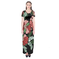Beautiful Floral Vector Seamless Pattern Short Sleeve Maxi Dress