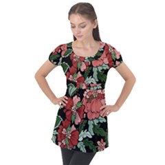 Beautiful Floral Vector Seamless Pattern Puff Sleeve Tunic Top