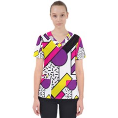 Memphis Colorful Background With Stroke Women s V Neck Scrub Top
