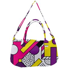 Memphis Colorful Background With Stroke Removal Strap Handbag