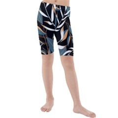 Summer Trend Seamless Background With Bright Tropical Leaves Plants Kids  Mid Length Swim Shorts by Vaneshart