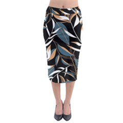 Summer Trend Seamless Background With Bright Tropical Leaves Plants Midi Pencil Skirt by Vaneshart