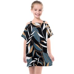 Summer Trend Seamless Background With Bright Tropical Leaves Plants Kids  One Piece Chiffon Dress by Vaneshart