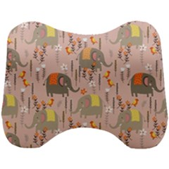 Cute Elephant Wild Flower Field Seamless Pattern Head Support Cushion