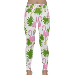 Seamless Pattern With Cute Flamingos Classic Yoga Leggings by Vaneshart