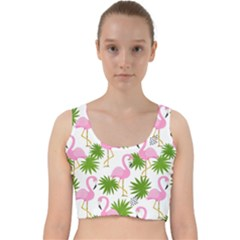 Seamless Pattern With Cute Flamingos Velvet Racer Back Crop Top by Vaneshart