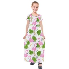 Seamless Pattern With Cute Flamingos Kids  Short Sleeve Maxi Dress