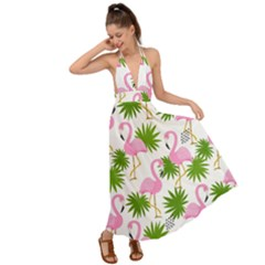 Seamless Pattern With Cute Flamingos Backless Maxi Beach Dress