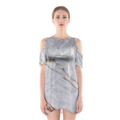 Gray Light Marble Stone Texture Background Shoulder Cutout One Piece Dress by Vaneshart