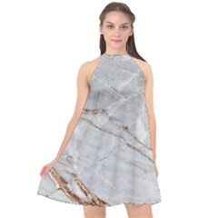 Gray Light Marble Stone Texture Background Halter Neckline Chiffon Dress  by Vaneshart