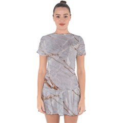 Gray Light Marble Stone Texture Background Drop Hem Mini Chiffon Dress