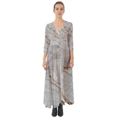 Gray Light Marble Stone Texture Background Button Up Boho Maxi Dress