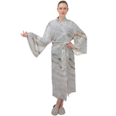 Gray Light Marble Stone Texture Background Maxi Velour Kimono