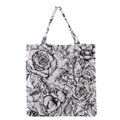 Vintage Floral Vector Seamless Pattern With Roses Grocery Tote Bag by Vaneshart