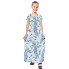 Beautiful Peacock Seamless Pattern Kids  Short Sleeve Maxi Dress by Vaneshart