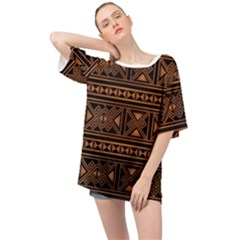 Colorful Bright Ethnic Seamless Striped Pattern Background Orange Black Colors Oversized Chiffon Top